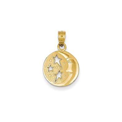 14K Gold Polished Moon with Three Stars Pendant Jewelry