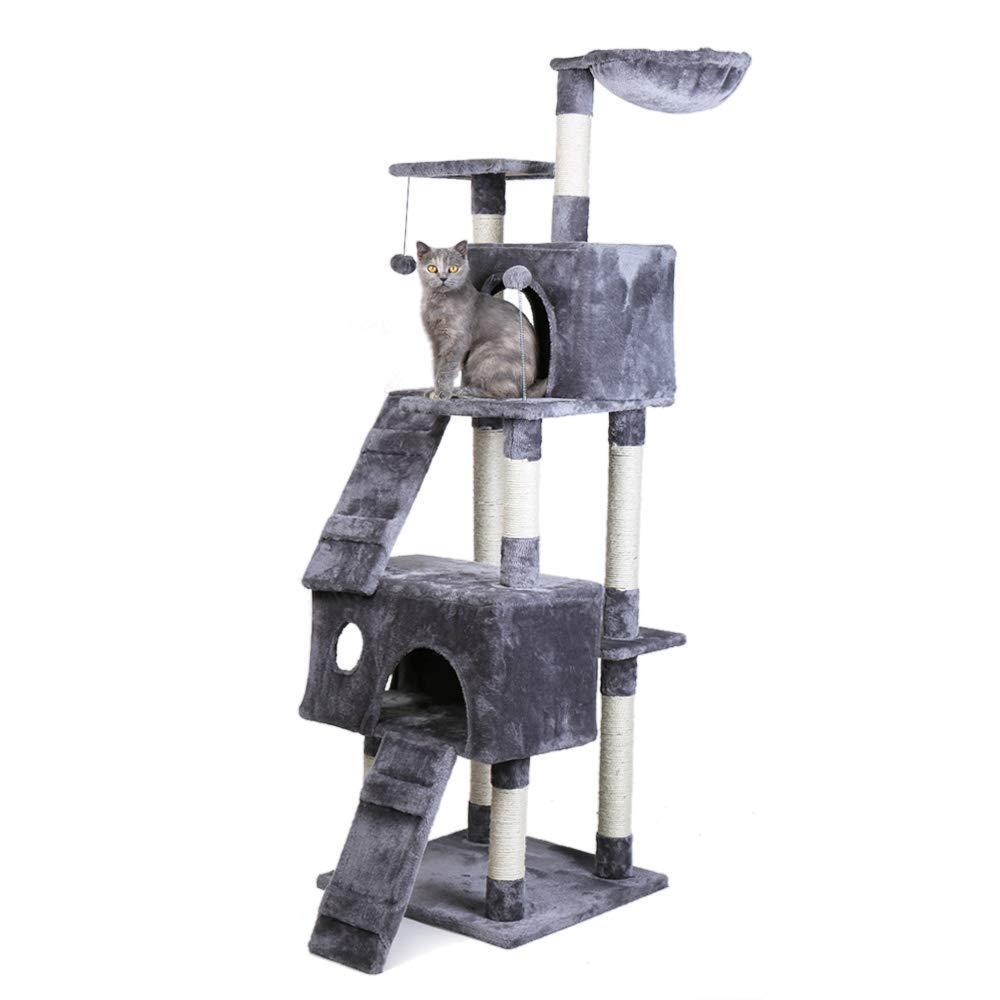 Eono Essentials Multi-Level Cat Tree Cat Tower con Amaca Sisal Tiragraffi Interactive Toys Activity Center per Gattini Gatti e Animali Domestici Grigio ...