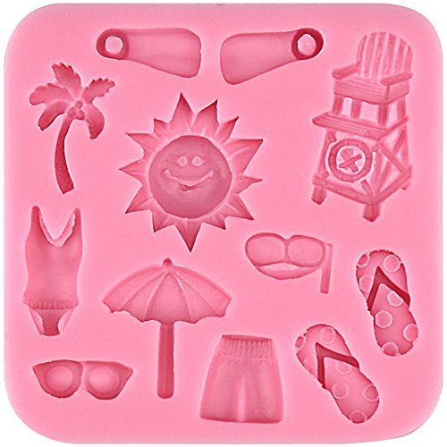 Funshowcase Beach Holiday Silicone Mold Cake Decorating for Sugarcraft, Fondant, Resin, Polymer Clay, Crafting Projects (Resin Flip Flop)