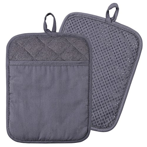 100% Cotton with Silicone Kitchen Everyday Basic Pot Holder Heat Resistant Coaster Potholder Oven Mitts with Pocket for Cooking and Baking Set of 2 Grey