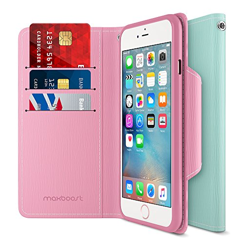 iPhone 6S 6 Wallet Case, Maxboost iPhone Wallet Case for iPhone 6S / 6 Protective PU Leather Card Case with Credit Card Slots + Side Pocket Flip Magnetic Stand Feature - Light Pink/Mint