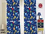 kids room design Elegant Home Multicolor Blue Solar System Space Ships & Rockets Universe Galaxy Stars Design Fun Colorful Boys/Kids Room Window Curtain Treatment Drapes 4 Piece Set with Rod Pocket # Space