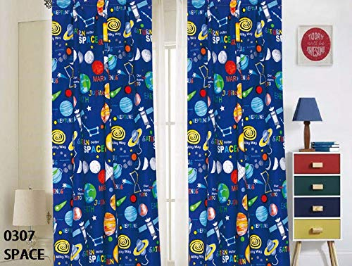 Elegant Home Multicolor Blue Solar System Space Ships & Rockets Universe Galaxy Stars Design Fun Colorful Boys/Kids Room Window Curtain Treatment Drapes 4 Piece Set with Rod Pocket # Space