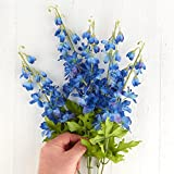 Beautiful Artificial Blue Delphinium Floral Bush for Home Decor, Crafting and Displaying