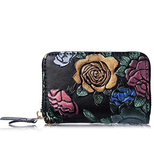 Credit Card Holder for Women Men, RBEIK RFID Blocking Accordion Style ID Business Name Card Wallet Case, Card Slots Zipper Travel Wallet Purse Pocket for Ladies Girls Boys (A3#Handwork-Rose) (Best Credit Card For 610 Credit Score)