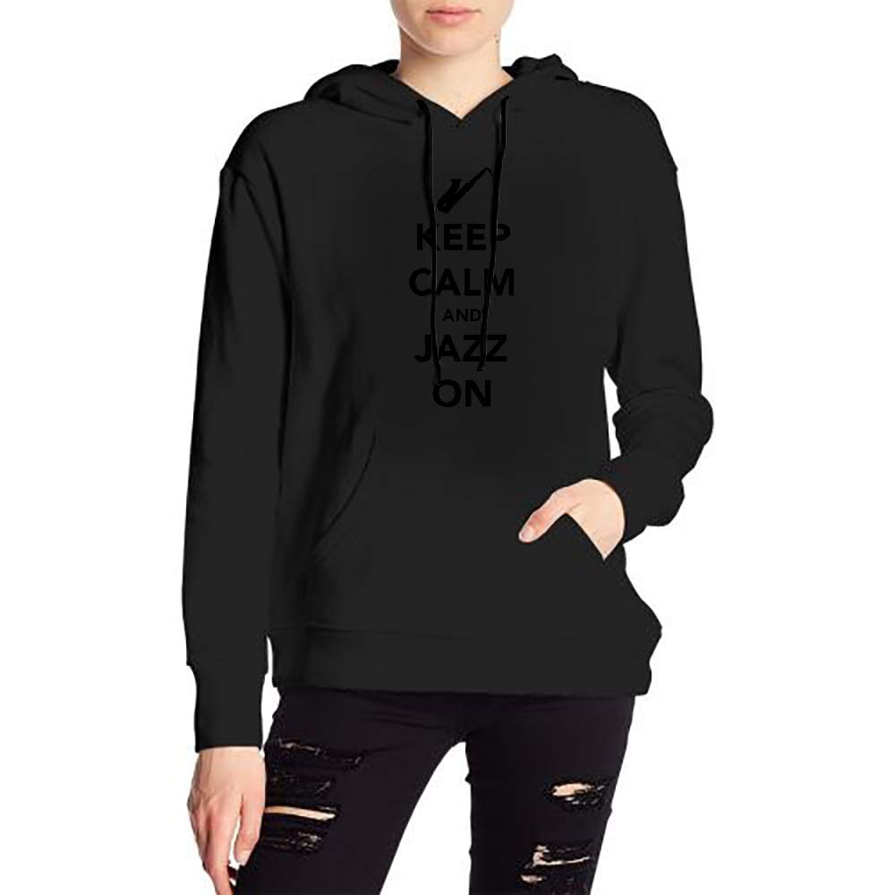 Woman Keep Calm and Jazz On Sax Long Sleeve Casual Style Drawstring Hooded