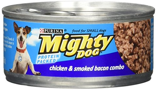 Purina ~ Mighty Dog for Small Dogs ~ Protein Packed 3 Flavor Variety Pack ~ 1 Box of 12 Cans ~ (Finely Ground / Orange Pack) - Mighty Dog Beef