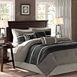 Madison Park Palmer 7 Piece Comforter Set - Black and Gray - California King - Pieced Microsuede - Includes 1 Comforter, 3 Decorative Pillows, 1 Bed Skirt, 2 Shams