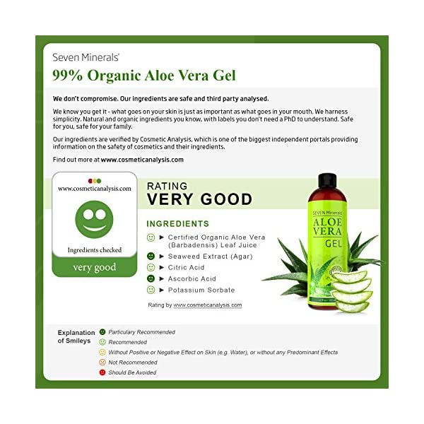 Aloe Vera Gel – 99% Organic, Big 12 oz – NO XANTHAN, so it Absorbs Rapidly with No Sticky Residue – made from REAL JUICE, NOT POWDER After Sun Aloe Vera Gel