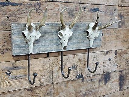 Unique montado en la pared perchero ciervo cuernos de los ...