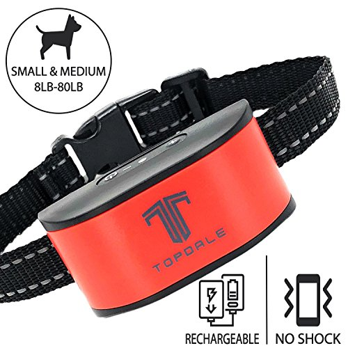 TopDale Bark Collar Small Dog & Medium Dogs: Pet-Safe Barking Collar With No Shock, Vibration And Sound Only, Humane Dog Barking Collar, Rechargeable, Water-Resistant Dog Bark Collar For Dogs