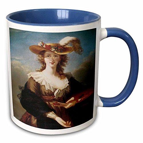 (3dRose BLN Portraits of Women Through Time Fine Art Collection - Self-Portrait by Marie Louise Elisabeth Vigee-Lebrun - 15oz Two-Tone Blue Mug (mug_149580_11))