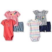 Carter's Baby Girls' 6-Piece Bodysuit Tee and Short Set, Navy Stripe/Pink Dot, 3 Months