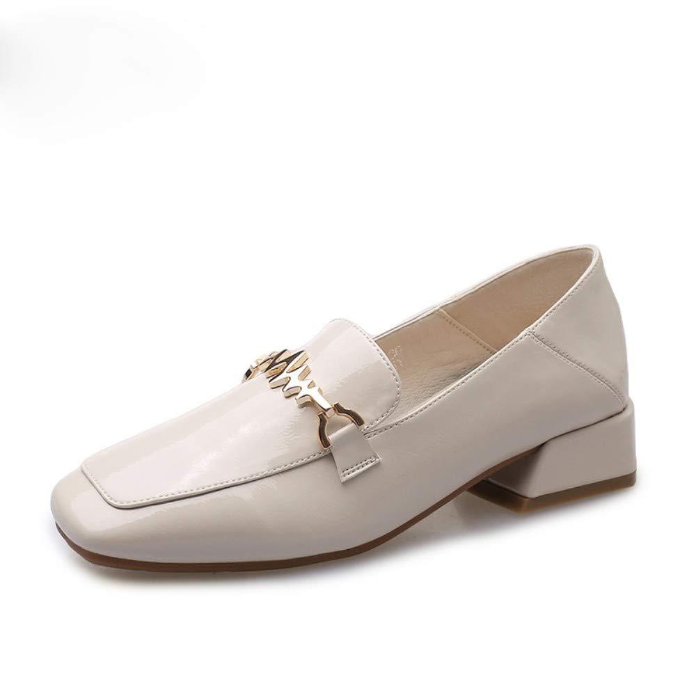 AJUNR Femmes Loisirs Le Printemps Petite Bouche Petites Chaussures en Cuir 4 Cm D'épaisseur Au Pied Tête Carrée Moitié Drag Beige 35 EU