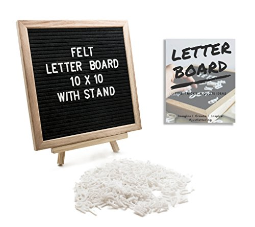 Felt Letter Board 10x10 inch Oak Wood Frame, 374 Changeable White Plastic Letters, Numbers, Symbols & Emojis, Wooden Tripod Stand, Cotton Bag, Free Ebook, Wall Mount, Quotes, Messages, Gifts