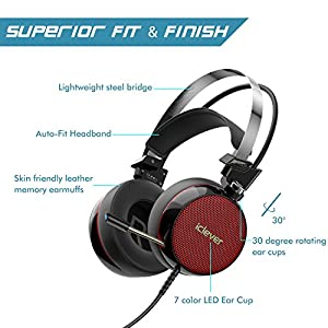 iClever Gaming Headset with Noise Canceling Microphone, 7.1 Surround Sound Over Ear Headphones with Stand, LED Light, Vibration Tuner for Laptop, Tablet, Computer (Black/Red)