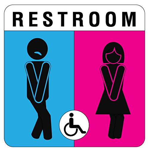 Unisex Bathroom Sign Funny And Modern Door Toilet Restrooms Sign. Free Shipping