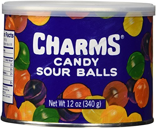 Charms Assorted Sour Balls 12oz Cannister (Pack of 2) - Balls Fruit Candy Sours