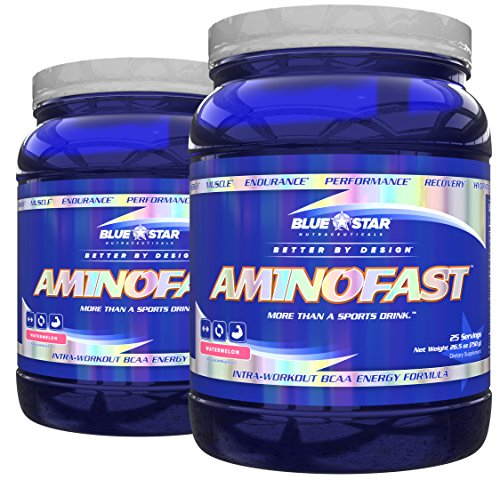 Blue Star Nutraceuticals Amino Fast - Performance, Muscle Recovery, Energy, and Endurance BCAA Powder (25 Servings) (2 Pack) (Watermelon) by Blue Star Nutraceuticals