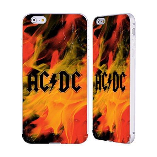 Officiel AC/DC ACDC Flame Logo Argent Étui Coque Aluminium Bumper Slider pour Apple iPhone 6 Plus / 6s Plus