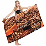 Mugod Beach Towel Bath Towels Brown Antique Grinder Coffee Beans Chocolate Cocoa Cinnamon Vintage Macro Collage Yoga/Golf/Swim/Hair/Hand Towel for Men Women Girl Kids Baby 64x32 Inch