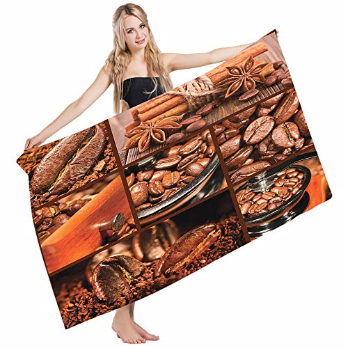 Mugod Beach Towel Bath Towels Brown Antique Grinder Coffee Beans Chocolate Cocoa Cinnamon Vintage Macro Collage Yoga/Golf/Swim/Hair/Hand Towel for Men Women Girl Kids Baby 64x32 Inch by Mugod