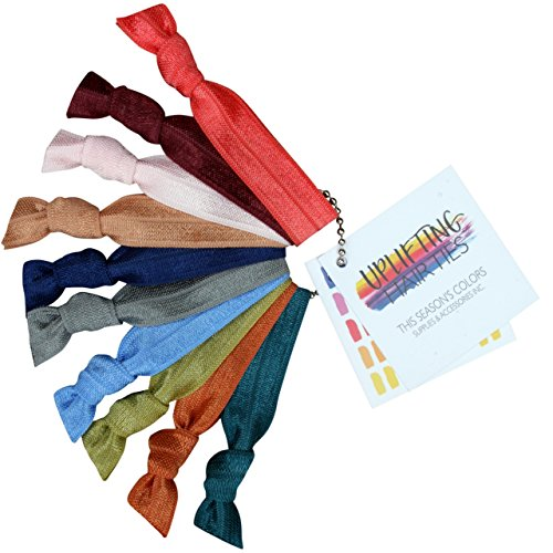 Uplifting Hair Ties by This Season's Colors No Crease, Fall / Winter Colors, Set of 10 with Reusable Chain (10 Hair Ties: 1 of Each Color, Fall/Winter - Silver Pantone Color