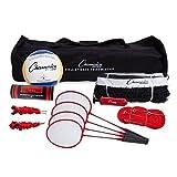 Champion Sports Volleyball & Badminton Set: Net, Poles, Ball, Rackets & Shuttlecocks - Portable Equipment for Outdoor, Lawn, Beach & Tournament Games