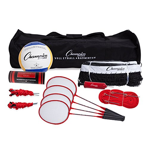 Champion Sports Volleyball & Badminton Set: Net, Poles, Ball, Rackets & Shuttlecocks - Portable Equipment for Outdoor, Lawn, Beach & Tournament Games