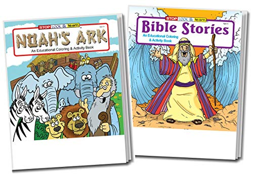 - 50-Pack: Bible Stories (25-Pack) and Noah's Ark (25-Pack) Kid's Educational Coloring and Activity Books in Bulk