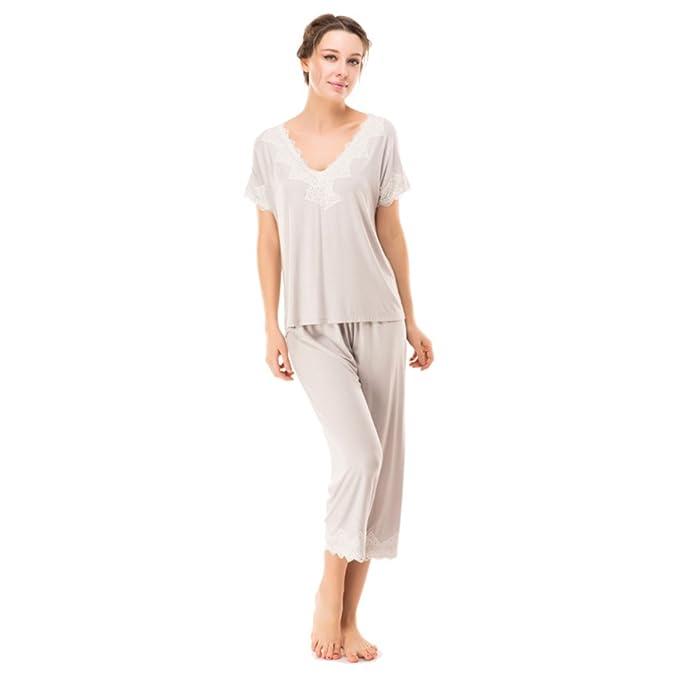 Verano pijamas/ delgada y sexyVCollar encaje mangas cortas casa desgaste/ manga corta pijama de