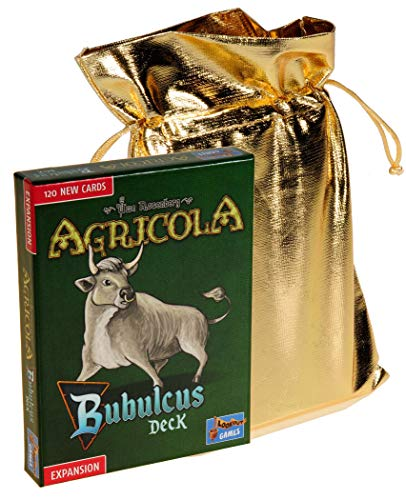 Agricola Bubulcus Expansion Deck from Lookout Games || Bonus Gold Metallic Cloth Drawstring Pouch || Bundled Items