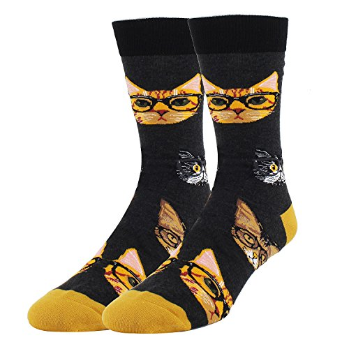 Men's Novelty Fun Cat with Glasses Crew Socks Crazy Funny Kitten Socks in Black