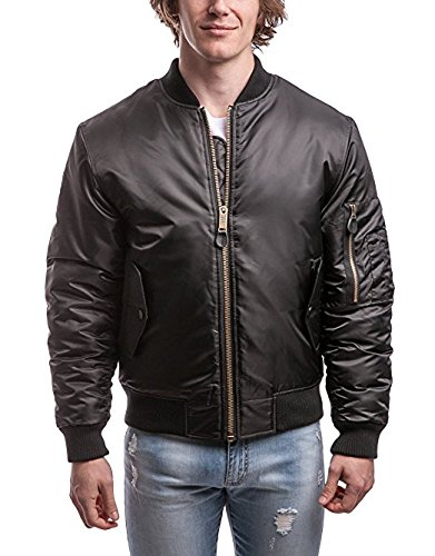 Pro Club Men's Flight Bomber Jacket, Small, Black