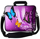 MySleeveDesign Notebook Carry Bag Laptop Neoprene Case with Shoulder Strap 15 - 15.6 Inch - SEVERAL DESIGNS - Butterfly Purple