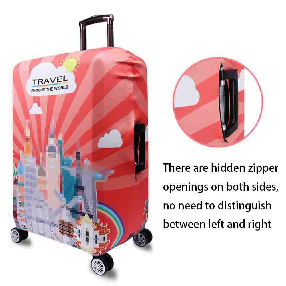 Suitcase Cover Digital Printing Polyester Spandex Suitcase Protective Cover Zipper Dark Buckle Reinforced Washable Protective Cover