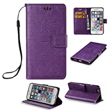 iPhone 6 Cute Elephant Pattern Case,[Stand Feature] [2 Card Slots] [Money Pocket] Synthetic Leather 4.7inch iPhone 6 Wallet Case with Screen Protector And Stylus Pen (Purple)