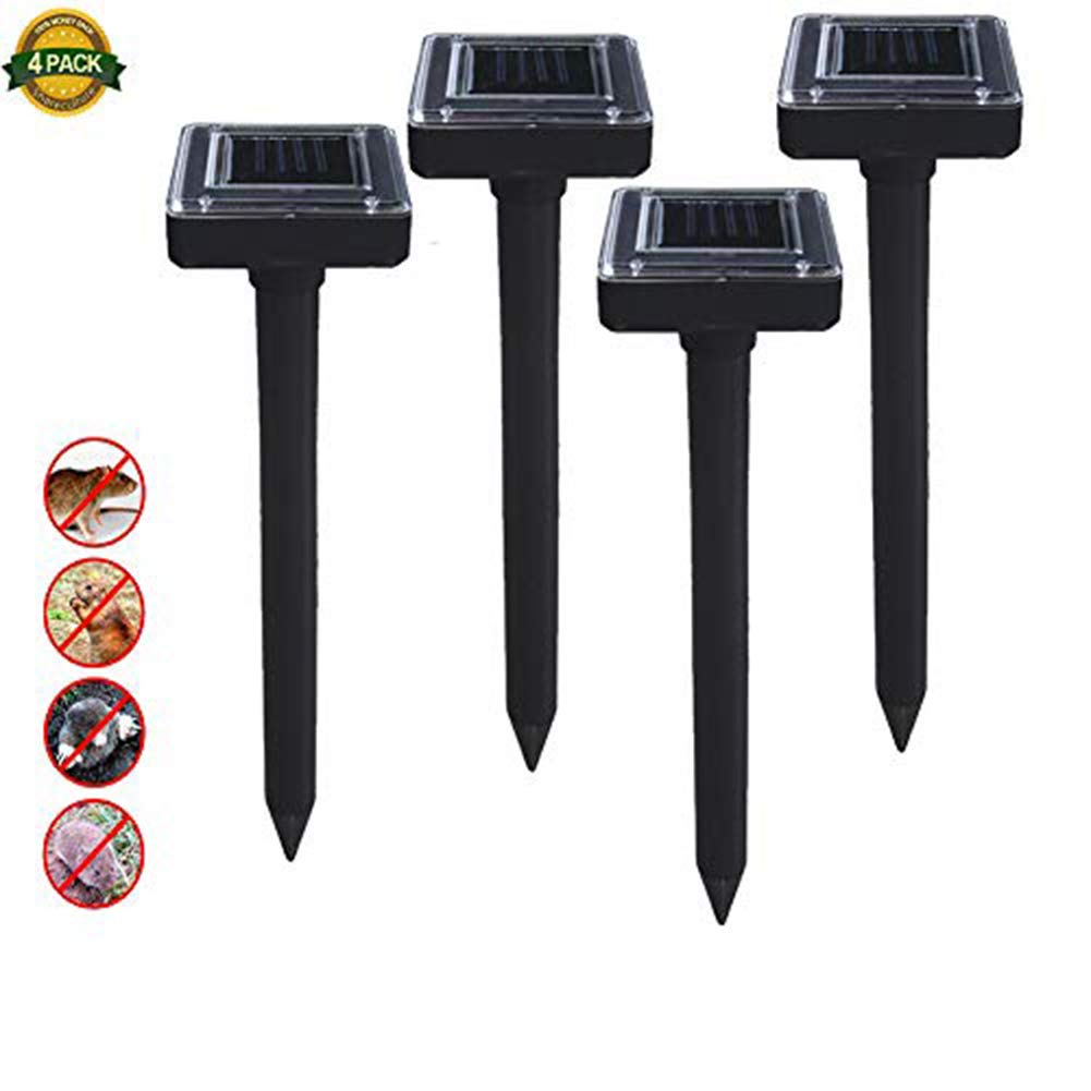 Shareculture 4 Pack Solar Mole Repellent Sonic Spike Repeller Ultrasonic Mole Repeller Solar Powered Pest Control Waterproof Drives Away Mole,Gopher,Voles Garden Yards Farm