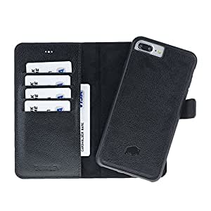 Burkley Case Detachable Leather Wallet Case for Apple iPhone 8 Plus / 7 Plus with Magnetic Closure and Snap-on | Book Style Cover with Card Holders and Kickstand in a Gift Box | Rolex Black