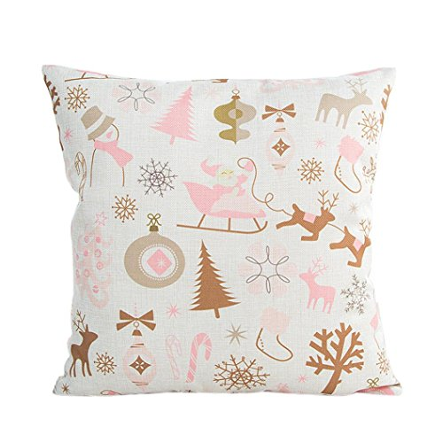 Gotd Christmas 18x18 Pillow Covers Pink Printing Decorations Decor Art Square Cotton Linen Pillowcase Xmas Cushion Cover Pillow Case Sofa Waist Throw Pillow Cushion Cover (Beige)