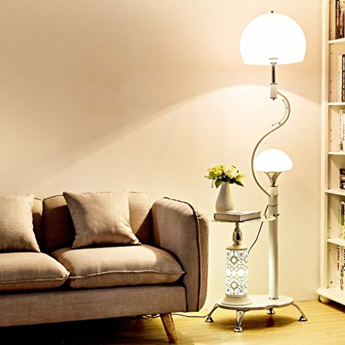 Shade Lamp Floor Acrylic (Modern Multi-Function Floor Lamp,with Glass Shelves, 2 Light White Acrylic Lampshade, Stands Lamp for Living Room And Bedroom, H166cm (Color : White))