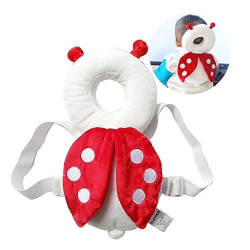 Baby Toddlers Head Protective , Adjustable Infant Safety Pads For Baby Walkers Protective Head and Shoulder Protector Prevent Head Injured Suitable Age 4-24 Months,Cute Ladybug(Red)