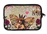 Universal Tablet Case Women - iPad Mini Neoprene Sleeve - Carrying Case Zipper Bag will fit any 7 - 8 Inch Device (Vintage Butterfly Fairy Princess Girl)
