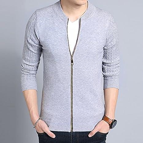 WL-Sweater Camiseta Tejida en otoño e Invierno, Hombre de Camisa Abierta suéter versión Coreana de la Semi-Abierto SAU territorial Juventud, Gris,L/110: Amazon.es: Deportes y aire libre