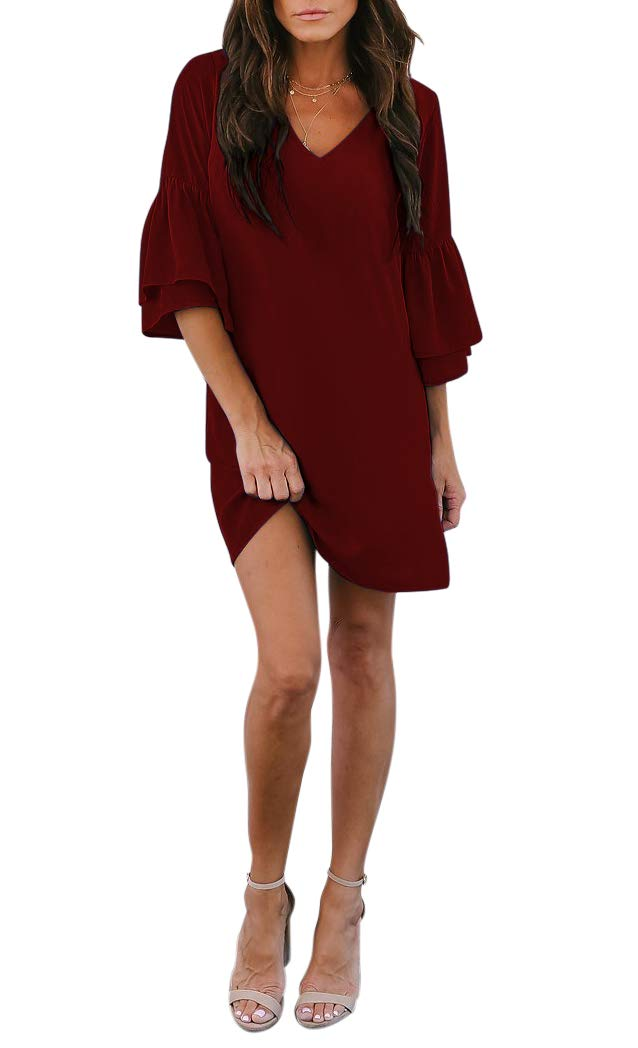 BELONGSCI Women's Dress Sweet & Cute V-Neck Bell
