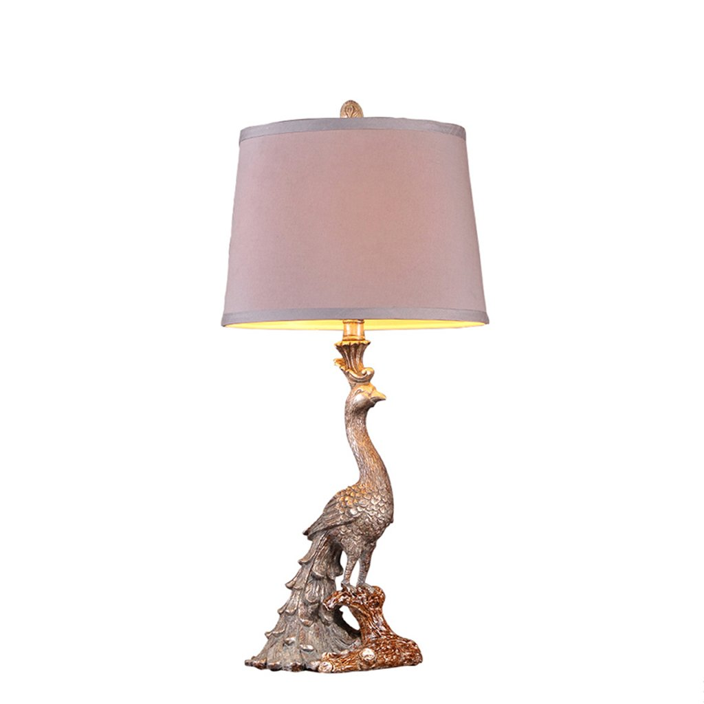 Retro Classic Peacock American Table Lamp Luxury Decoration European Table Lamp Bedroom Bedside Lamp Push Button Switch