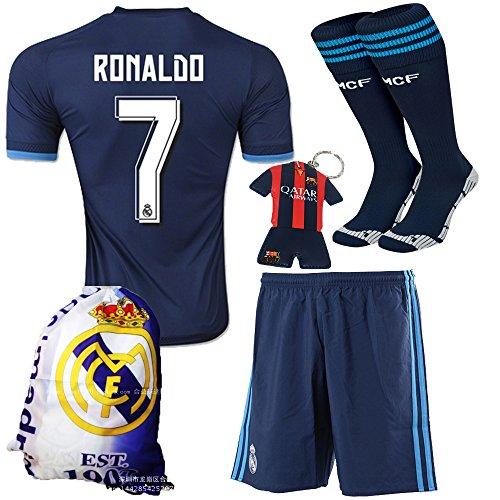 KID BOX¨ 2015/2016 #7 Away Blue Soccer Football Jersey Sportswear Team Polo Shirt & Short & Sock & Soccer Bag
