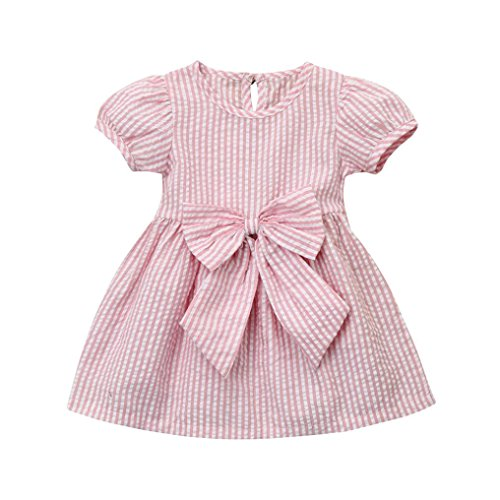 Infants Striped Playsuit (G-real Infant Toddler Baby Girl Big Bow Striped Princess Dress Casual Sundress Playsuit For 6-24M (Pink, 18M))