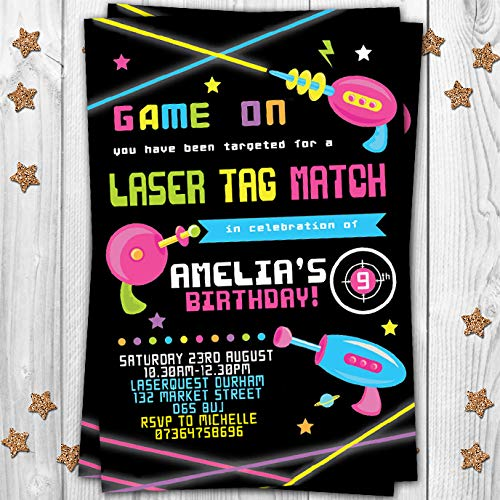 10 Laser Tag Quest Themed Personalised Birthday Party Invitations Invites