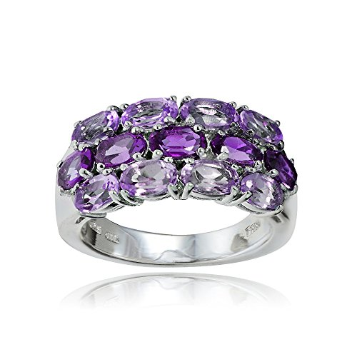 Sterling Silver Genuine African Amethyst and Amethyst 3-Row (Genuine African Amethyst Ring)